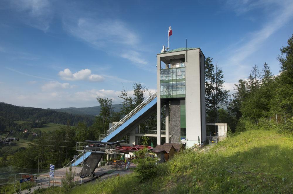 Wisla, Poland, 24 May 20118: The Adam Malysz ski jumping hill in Wisla Malinka in Poland in the summer